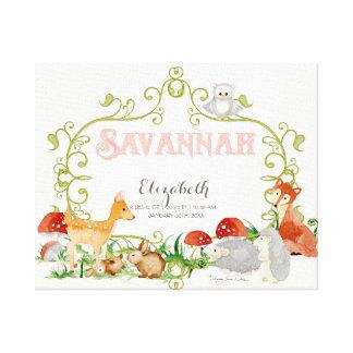 Savannah Top 100 Baby Names Girls Newborn Nursery Canvas Print