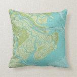 Savannah-Tybee Isl. Bright Nautical Chart Pillow
