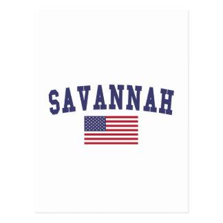 Savannah US Flag Postcard