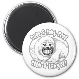 Save a Baby Seal by Mudge Studios 2 Inch Round Magnet