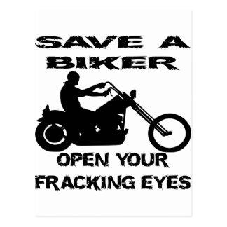 Save A Biker Open Your Fracking Eyes Postcard