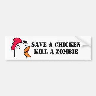 Save A Chicken Kill A Zombie Car Bumper Sticker