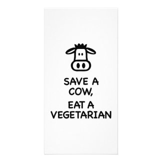 Save a Cow eat a Vegetarian Personalized Photo Card