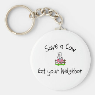 Save A Cow Eat Your Neighbor Keychain