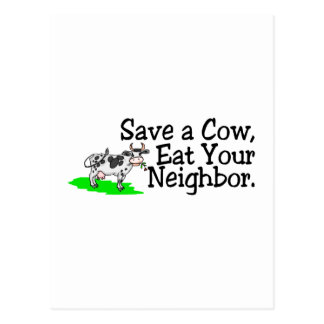 Save a Cow Eat Your Neighbor Postcard