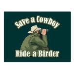 Save a Cowboy... Ride a Birder Postcard