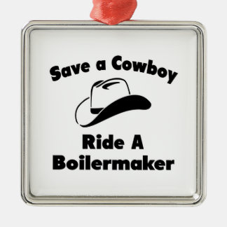Save a Cowboy Ride a Boilermaker Christmas Ornaments