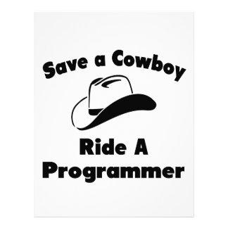 Save a Cowboy .. Ride a Programmer Letterhead Design