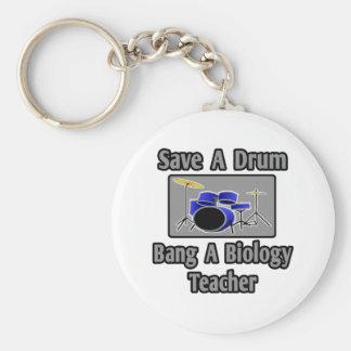 Save a Drum...Bang a Biology Teacher Keychains