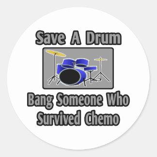 Save a Drum...Bang a Chemo Survivor Classic Round Sticker
