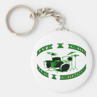 Save a Drum - Bang a Drummer in green Keychain