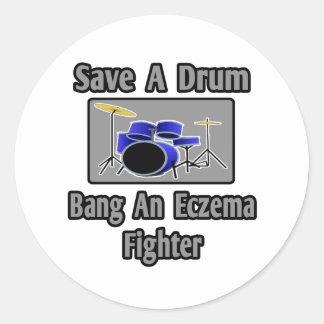 Save a Drum...Bang an Eczema Fighter Classic Round Sticker