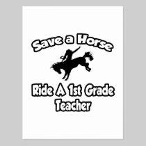 Save a Horse, Ride a 1st Grade Teacher Postcard