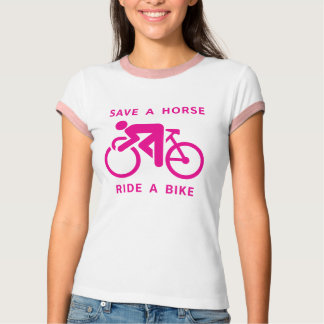 Save a Horse, Ride a Bike Ringer T-Shirt