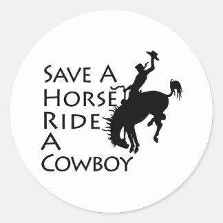 Save A Horse Ride A Cowboy Classic Round Sticker