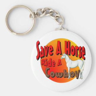 Save A Horse Ride A Cowboy Keychain