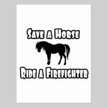 Save a Horse, Ride a Firefighter Postcard