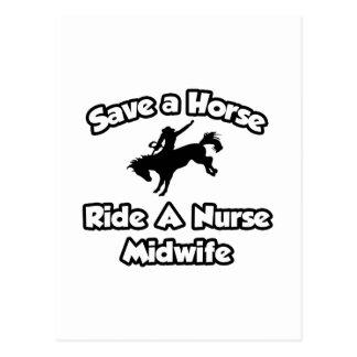 Save a Horse, Ride a Nurse Midwife Postcard