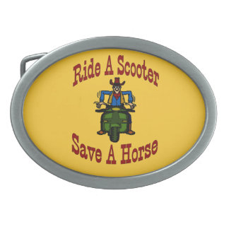 Save A Horse Ride A Scooter Cowboy Oval Belt Buckle