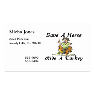 Save A Horse Ride A Turkey Business Card Template