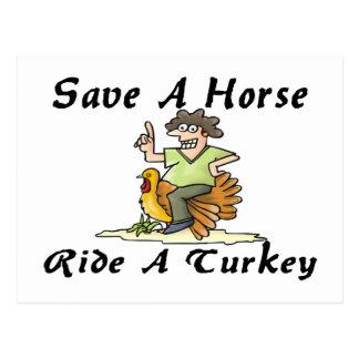 Save A Horse Ride A Turkey Postcard