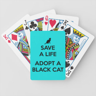 Save A Life Adopt A Black Cat Bicycle Playing Cards