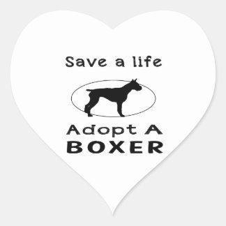 Save a life adopt a Boxer Heart Sticker