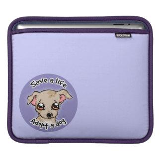 Save a life.. adopt a dog puppy logo iPad sleeves