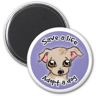 Save a life.. adopt a dog puppy logo magnet