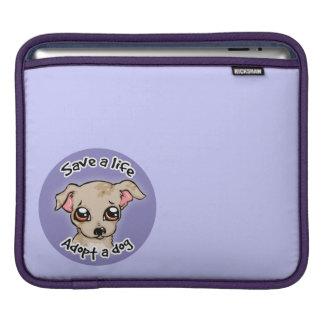 Save a life.. adopt a dog puppy logo sleeve for iPads