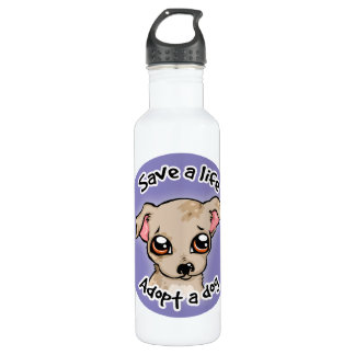 Save a life.. adopt a dog puppy logo water bottle