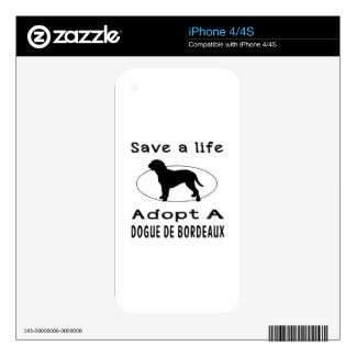 Save a life adopt a Dogue de Bordeaux Decal For iPhone 4S