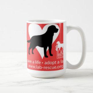 Save A Life Adopt A Lab Mug, Black Lab Classic White Coffee Mug