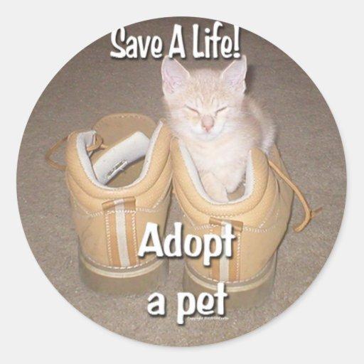 Save A Life Adopt A Pet Classic Round Sticker