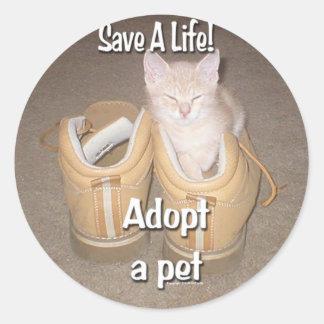 Save A Life Adopt A Pet Round Sticker