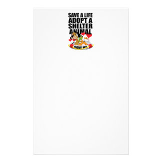 Save A Life Adopt A Shelter Animal Stationery Paper