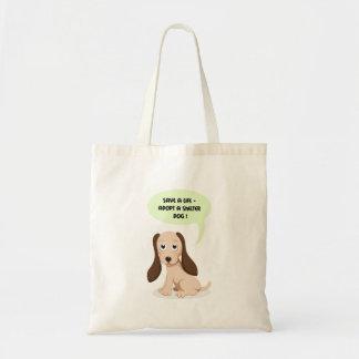 Save a life - adopt a shelter dog bag budget tote bag