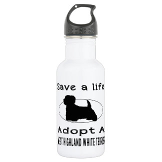 Save a life adopt a West Highland White Terrier 18oz Water Bottle
