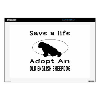 Save a life adopt an Old English Sheepdog Decals For Laptops