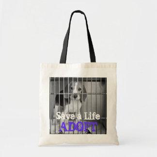 """Save a Life. Adopt"" Animal Rescue Beagle Tote Bag"