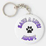 Save A Life! Adopt Basic Round Button Keychain