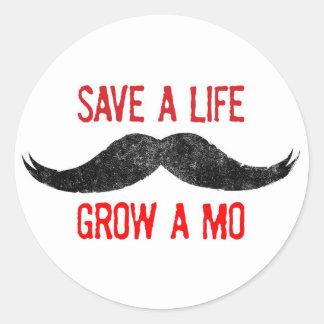 Save A Life - Grow A Mo - Cancer Awareness Sticker