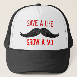 Save A Life - Grow A Mo - Cancer Awareness Trucker Hat
