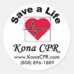 Save a life KonaCPR, www.KonaCPR.com, (808) 896... Classic Round Sticker
