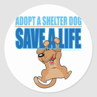Save A Life Shelter Dog Classic Round Sticker