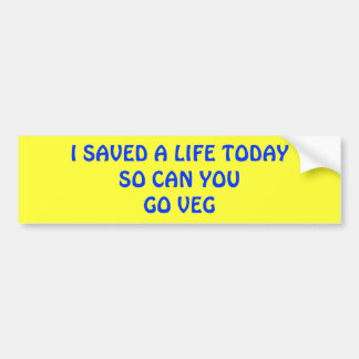 SAVE A LIFE TODAY BUMPER STICKER