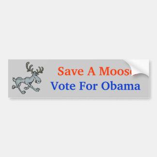 , Save A Moose, Vote For Obama Bumper Sticker
