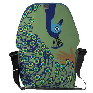 Save a peacock messenger bag