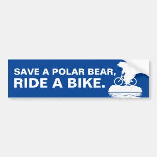 SAVE A POLAR BEAR, RIDE A BIKE. Bumper Sticker