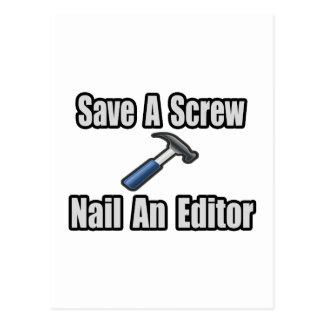 Save a Screw, Nail an Editor Postcard
